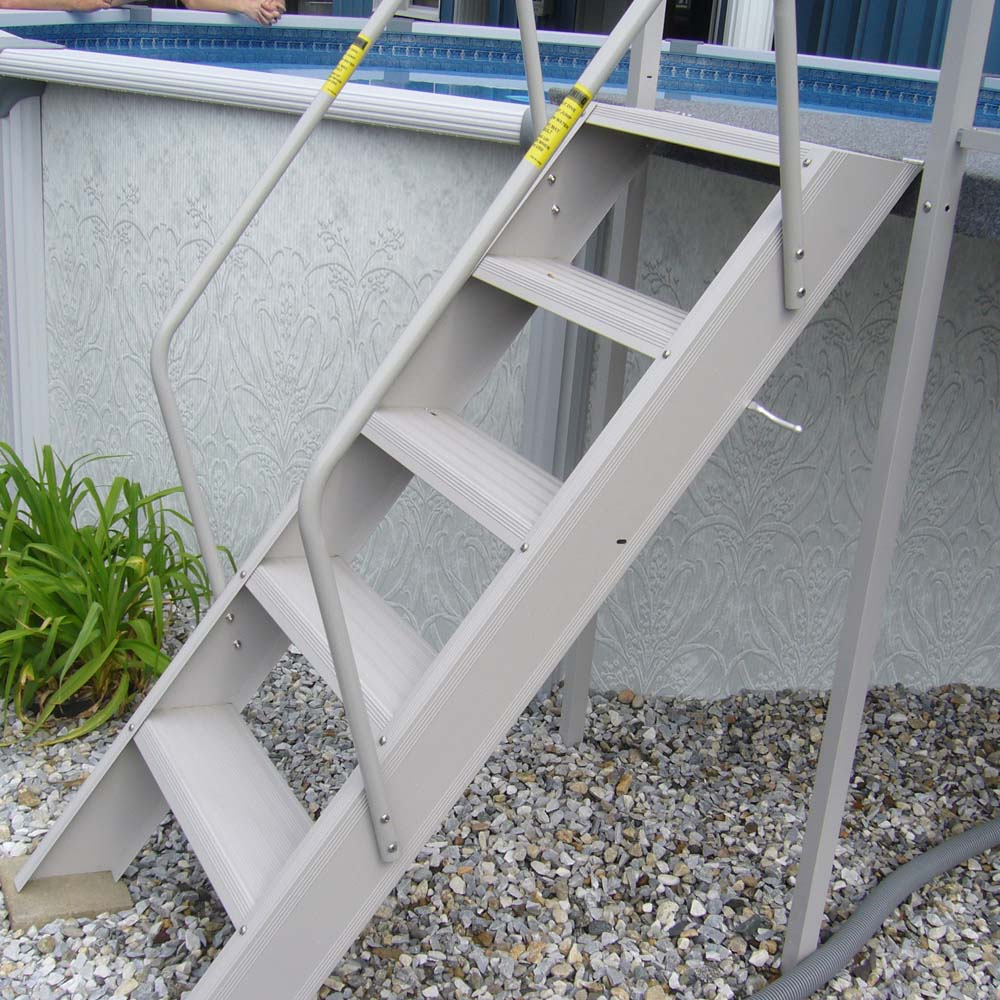Flip up deck ladder taupe teddy bear pools and spas for Above ground pool decks and ladders