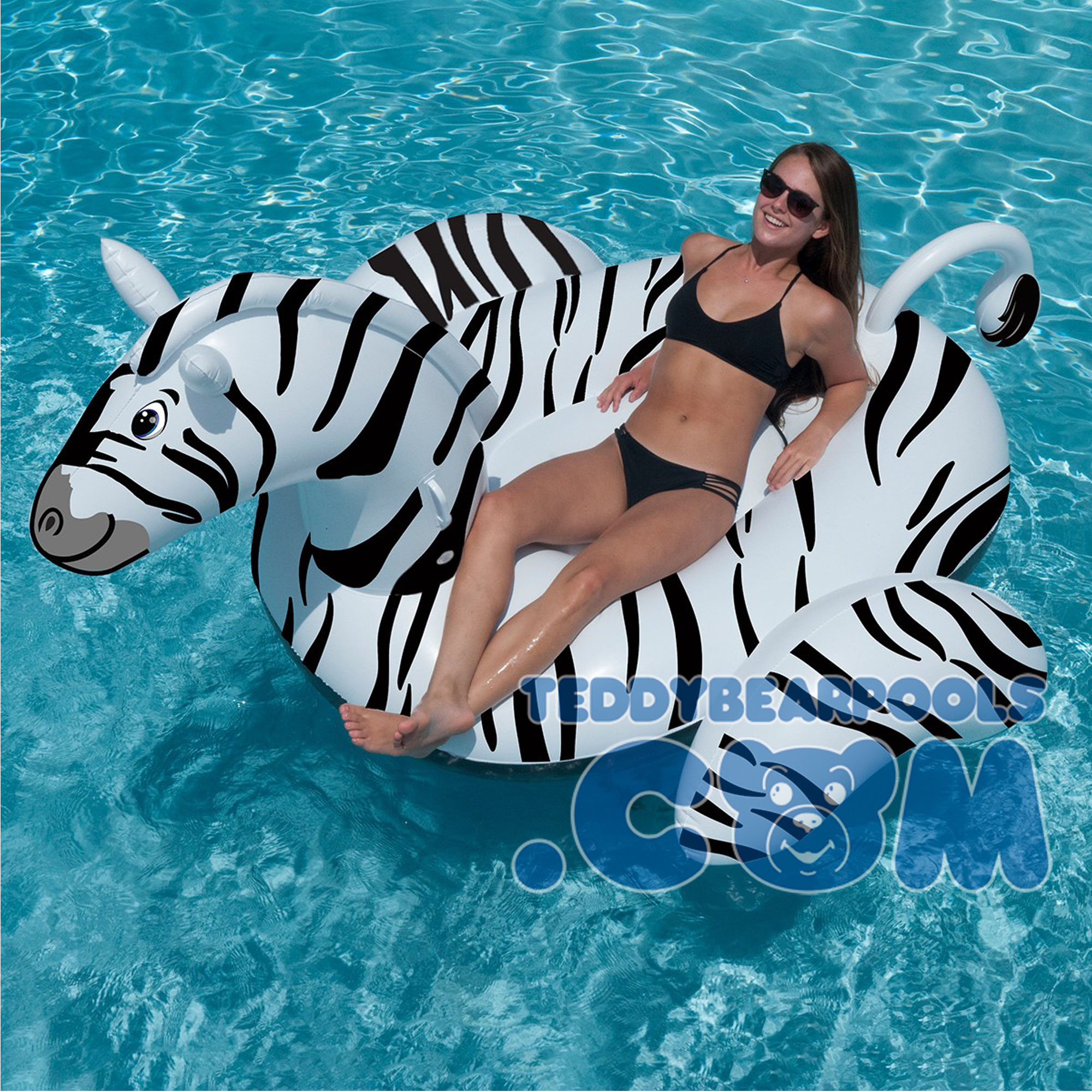 Giant zebra ride on 108 by swimline teddy bear pools for Huge inflatable swimming pool